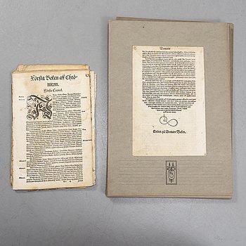 """GUSTAV VASAS BIBEL, 31 blad ur """"Biblia, thet är, all then Helga scrifft på swenska..."""", Uppsala 1540-41."""