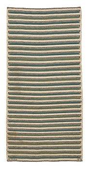 "215. Barbro Nilsson, A CARPET, ""Randig med tvist, grön"", flat weave, ca 253,5 x 124 cm, signed AB MMF BN."