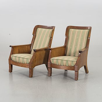 A PAIR OF EASY CHAIRS 1920'S.