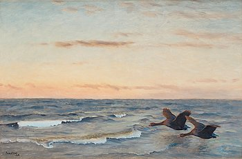 429. Bruno Liljefors, Seascape with geese.