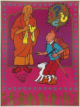 Four 1970 Tintin posters.