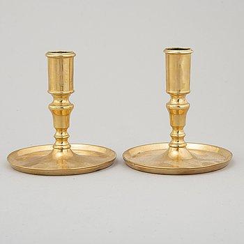 CANDLESTICKS, a pair, brass, ca 1800.