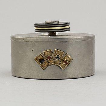 A Kurt Ek & Co pewter box for game chips, Stockholm, 1939.