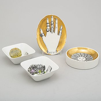 PIERO FORNASETTI, a porcelain ashtray, a jewelry dish and a pair of 'Botanica Pratica' bowls, Milan, Italy.