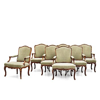 62. Seven French armchairs (two 18th century and five late 19th century).