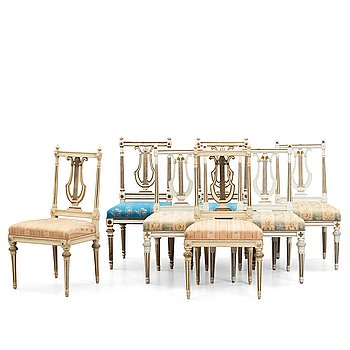 65. Seven matched Gustavian late 18th century chairs, (3+2+2) by Erik Öhrmark (master in Stockholm 1777-1813).
