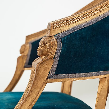 A pair of late gustavian armchairs by ephraim ståhl (master in stockholm 1794-1820).