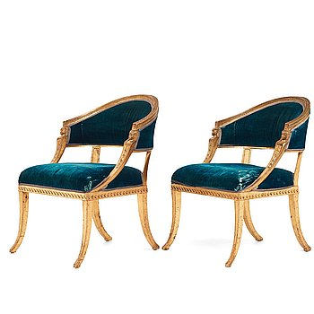 64. A pair of late Gustavian armchairs by Ephraim Ståhl (master in Stockholm 1794-1820).
