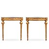 A pair of gustavian late 18th century corner console tables.