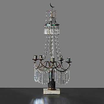 A late Gustavian early 19th century four-light candelabra.