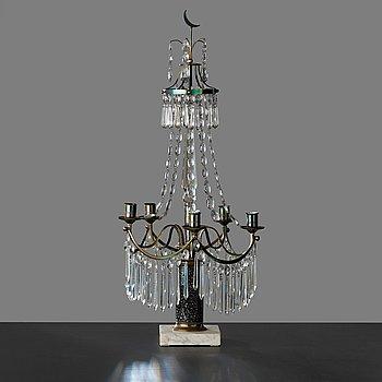 BORDSLYSTER, för fyra ljus, sengustaviansk, 1800-talets början.