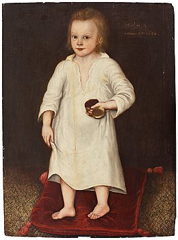 34. ENGLISH ARTIST, 17Th Century. Young boy with box.