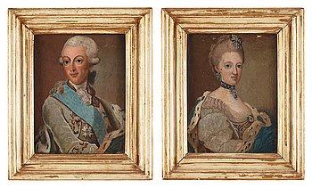 36. Ulrica Fredrica Pasch Attributed to, Gustaf III (1746-1792) & Sofia Magdalena (1746-1813).