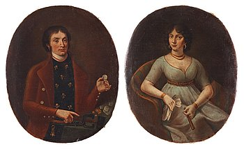 37. UNKNOWN ARTIST, Early 19th Century. Portrait of a Coian controller & his wife.