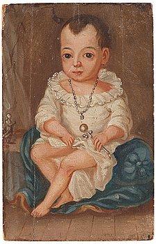 38. UNKNOWN ARTIST, 18Th Century. Child with rattle.