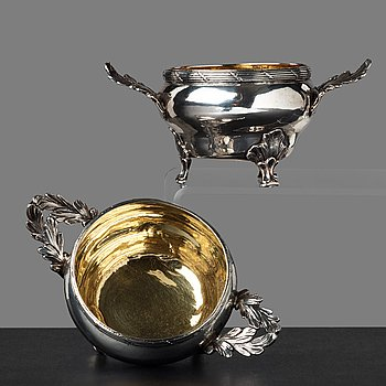 3. A pair of Swedish 18th century parcel-gilt silver salt cellars, mark of Jonas Berg, Stockholm 1781.