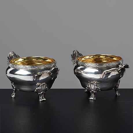 A pair of swedish 18th century parcel-gilt silver salt cellars, mark of jonas berg, stockholm 1781.