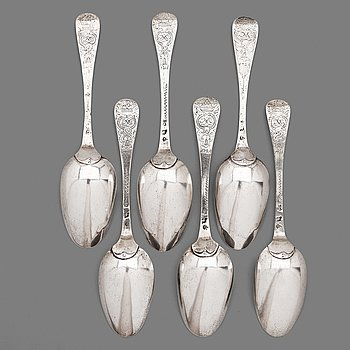 5. A set of six Swedish silver spoons, mark of Johan Möllerström, Stockholm 1727, dated engraving 1726.
