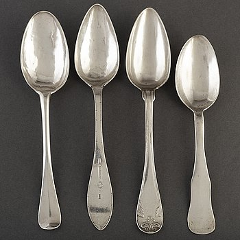 4 silver spoons, 18th/19th century. Among others Otto Wilhelm Kjellberg, Västerås 1840.