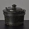 A serpentine stone butter box and cover circa 1800.