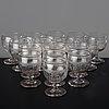 A set of 16 cut glass wine goblets, circa 1900.
