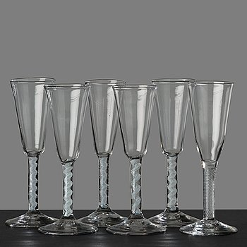 53. A matched set of six champagne flutes, England, 18th Century.