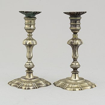 A pair of paktong candlesticks, second half of the 18th century.