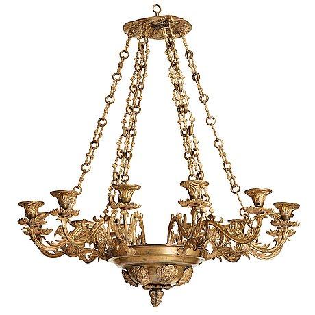 Ampel, för tolv ljus, nyrokoko, 1800 talets mitt