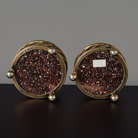 A pair of gilt silver and porphyry salts, by gustaf folcker, stockholm 1827.