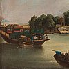 A oil on canvas by un unknown artist, qing dynasty, canton, 19th century.