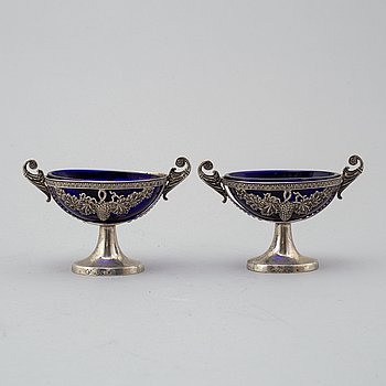 A pair of silver salt cellars, pseudo marks, probably Hanau, Germany, second half of the 19th Century.