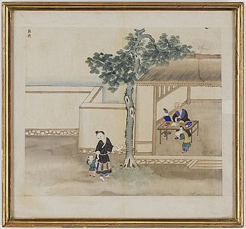 Five Japanese paintings, ink and color on papper, early 20th century.