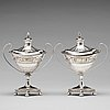A pair of swedish 18th century silver sugar-bowls and cover, mark of pehr zethelius, stockholm 1799.