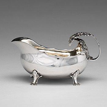 183. A Swedish 18th century parcel-gilt silver cream-jug, mark of Petter Åkerman, Stockholm 1782.