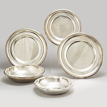 A set of five French late 19th century silver dishes.