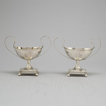 A pair of Swedish late 18th century silver sugar bowls, unidentifed marks.