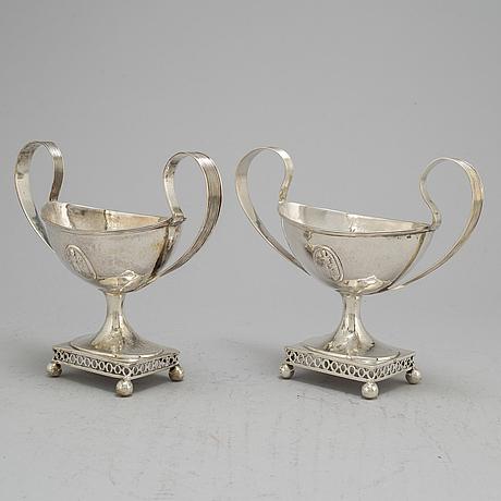A pair of swedish late 18th century silver sugar bowls, unidentifed marks