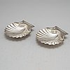 An english early 19th century pair of silver butter-shells, mark of london 1807.