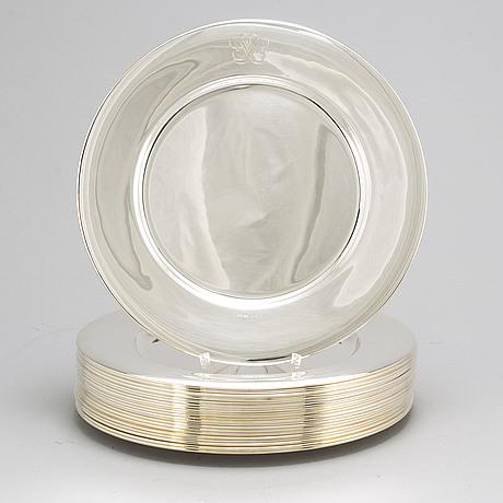 A set of 22 swedish silver plates, mark of gab, stockholm 1937 1960