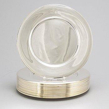 A set of 22 Swedish silver plates, mark of GAB, Stockholm 1937-1960.