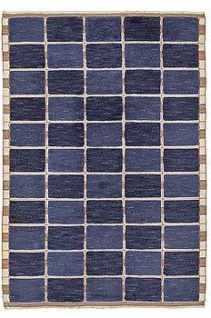 "295. Märta Måås-Fjetterström, A CARPET, ""Rutig blå halvflossa"", knotted pile in relief, ca 304 x 209,5 cm, signed AB MMF."