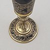 Two similar silver-gilt champagne flutes, unidentified makers mark, moscow 1843.