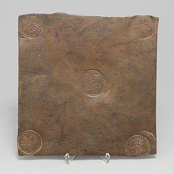 A Swedish copper plate, 4 Daler silvermynt, 1719.