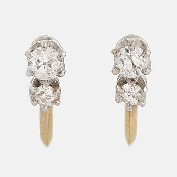 A pair 18K gold and old-cut diamond earrings.