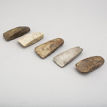 YXOR, 5 st., slipad flinta, neolitikum.