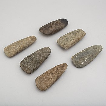 Six neolithic stone axes.