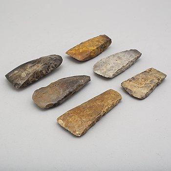 YXOR, 6 st, av huggen och slipad flinta, neolitikum.