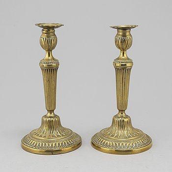 A pair of late 18th century Gustavian bronze candlesticks.