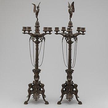 FERDINAND BARBEDIENNE, tillskrivna, kandelabrar, ett par, brons, 1800-tal.