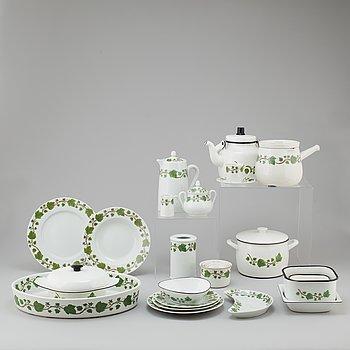 An 89 pcs porcelain and enamel service, Porcelaine de Paris, Wedgwood and Kockums, 20th century.